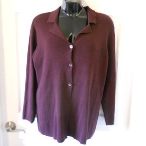 INC International Concepts Cardigan Sweater Raisin